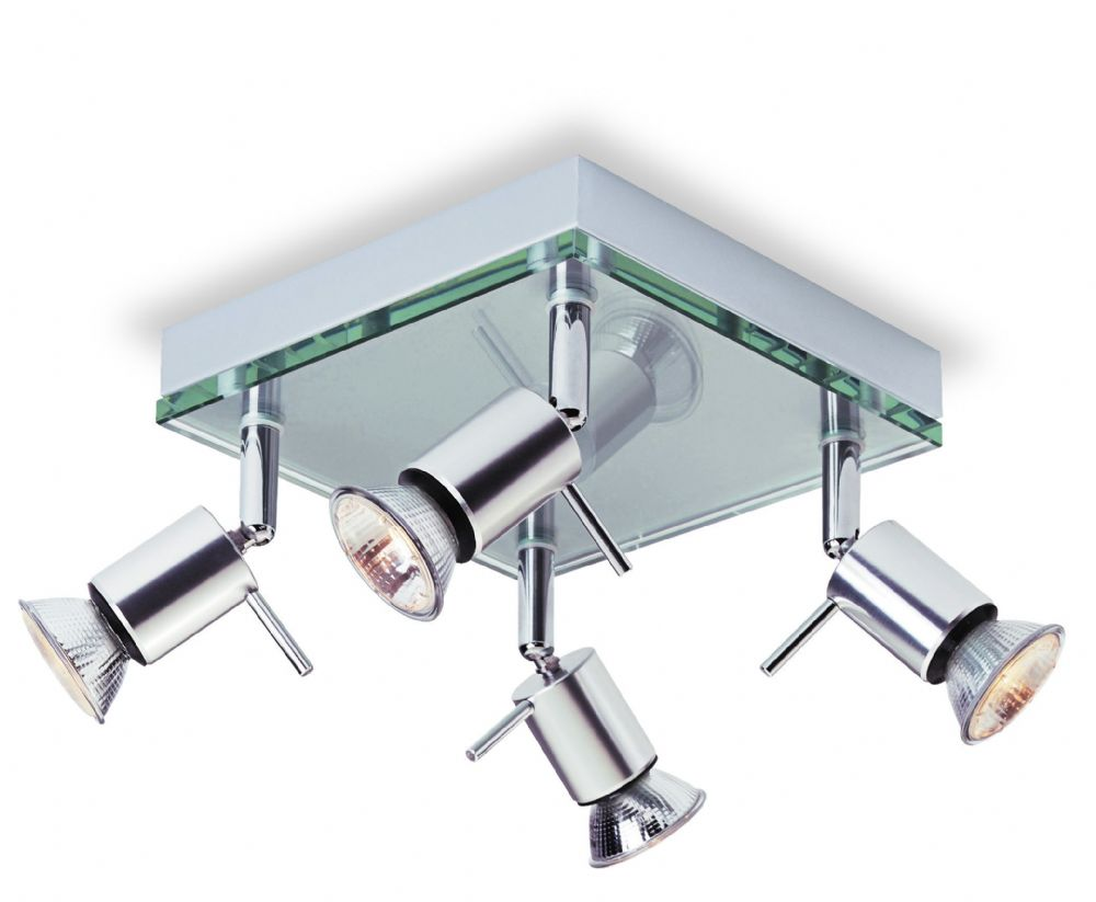 Firstlight 5514AL Aluminium with Clear Glass Aqua 4 Light Flush